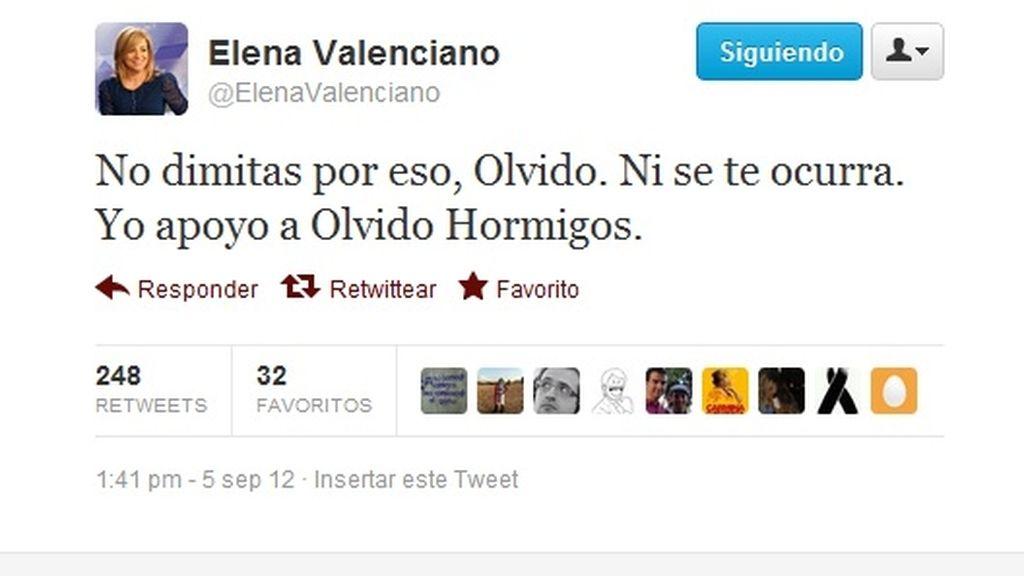 El tuit de apoyo de Elena Valenciano a Olvido Hormigos