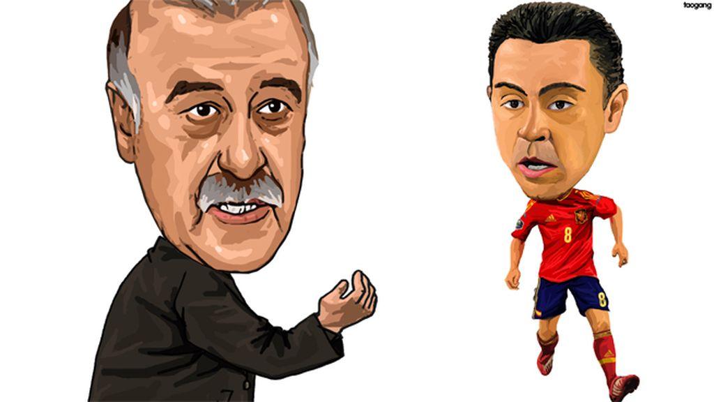 Del Bosque y Xavi Hernández (España)