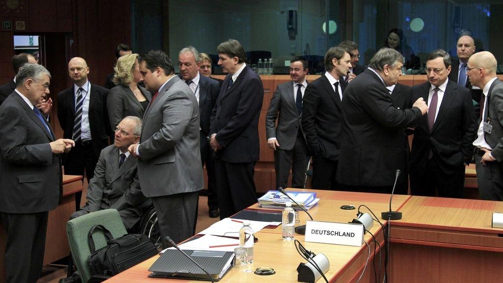 Los ministros de Economía del Eurogrupo en un momento de la reunión