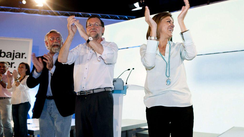 Rajoy y Cospedal durante un mitin en Talavera de la Reina (Toledo)