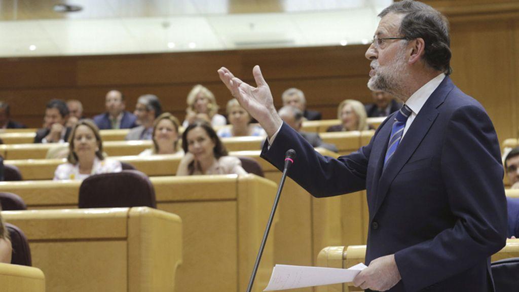 Mariano Rajoy en la sesión de contro al Gobierno celebrata este martes en el Senado.