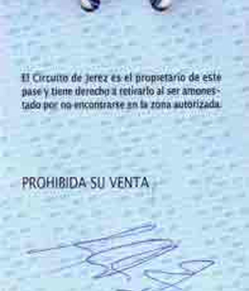 Pase Vip firmado por Schumacher