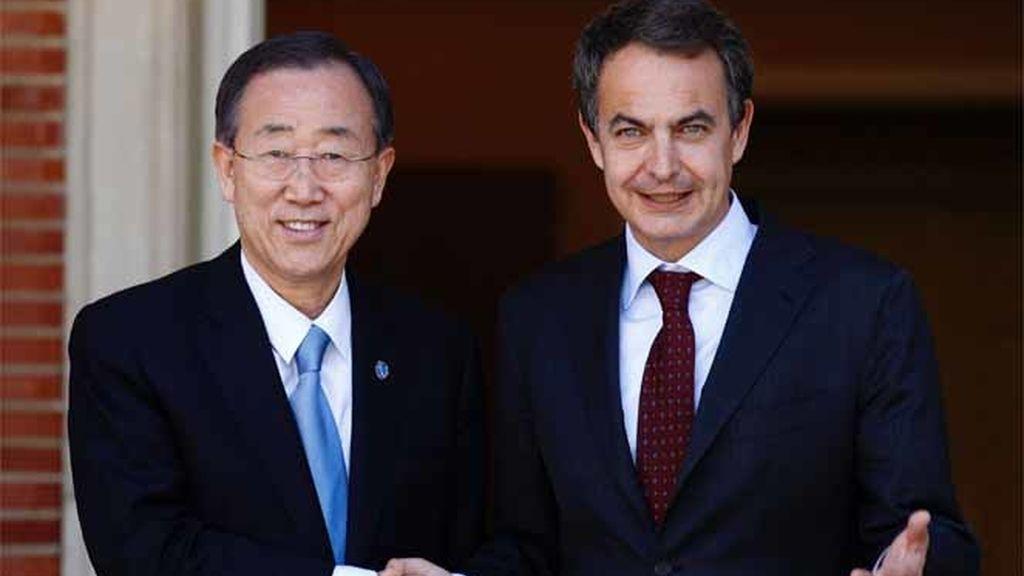 Zapatero recibe a Ban Ki-Moon