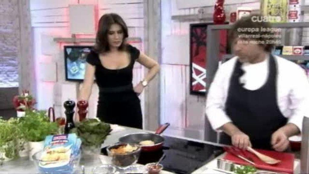 """Hamburguesa de atún """"Isabel"""" con chips de verduras"""