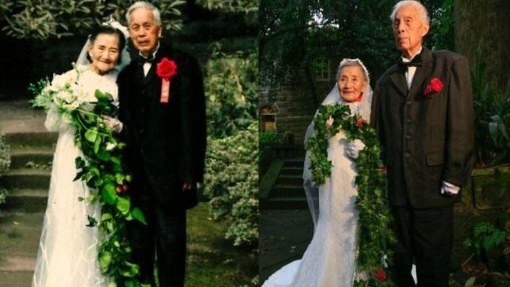 Una pareja de ancianos recrean su boda 70 años después