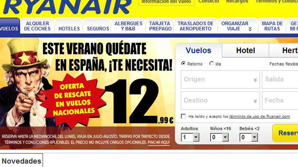 Ryanair juega con la crisis española en su última campaña de vuelos low cost