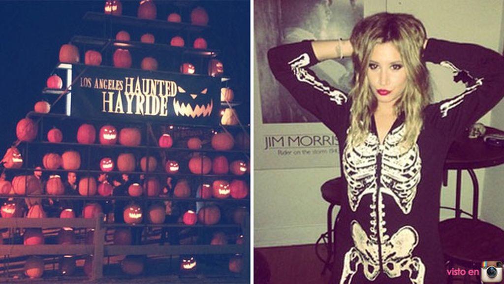 Ashley Tisdale, parque de calabazas nocturno y fiesta de disfraces