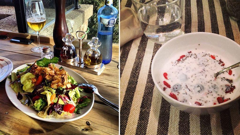 Dieta equilibrada y sanísima: vegetales y yogourt con fruta