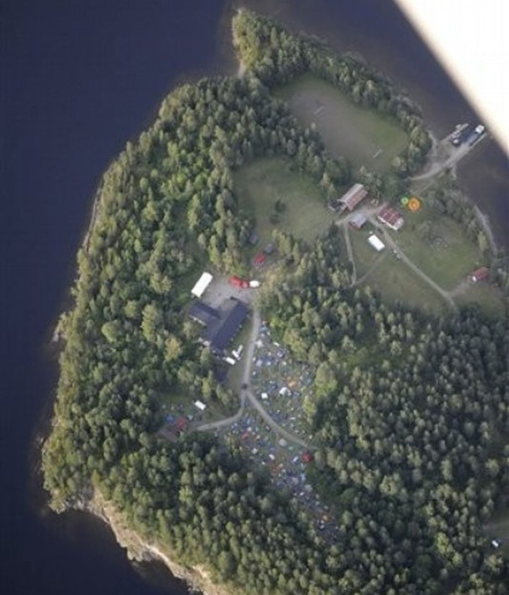 Vista aérea de la isla noruega de Utoya.