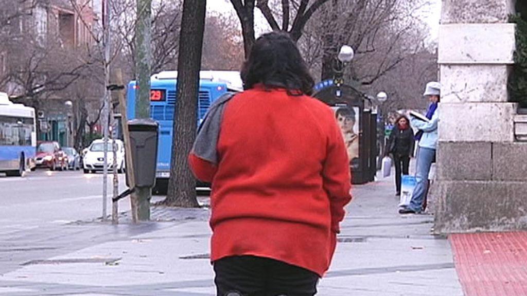 Una mendiga 'haciendo' la calle