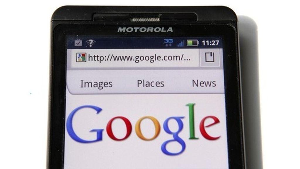 Página de inicio de Google en un Motorola Droid
