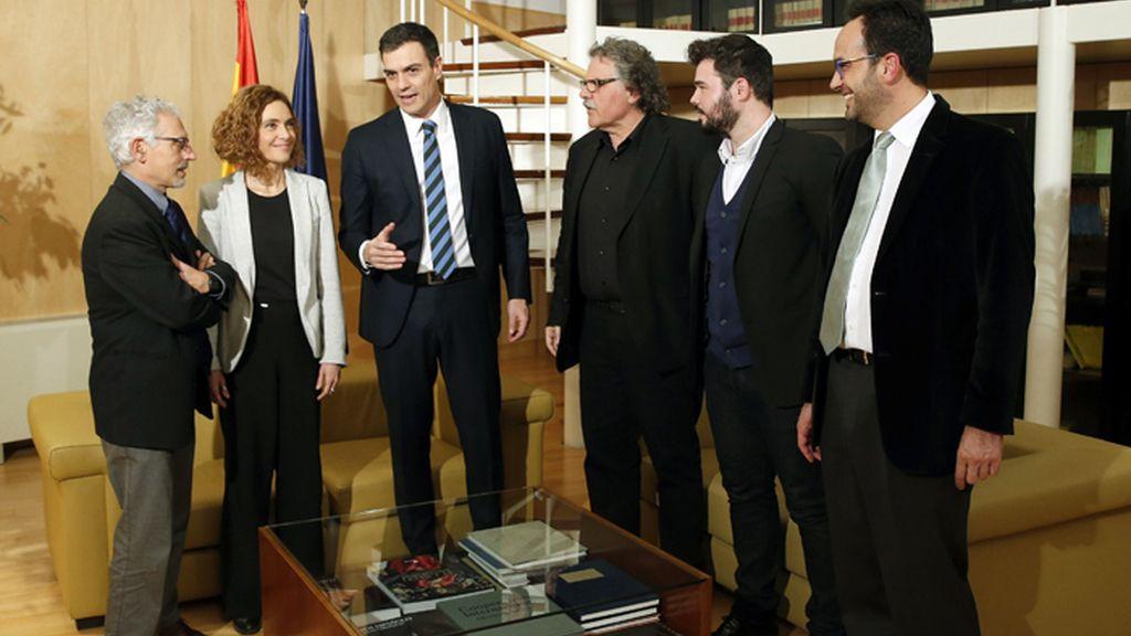 Reunión de Pedro Sánchez con los portavoces de ERC
