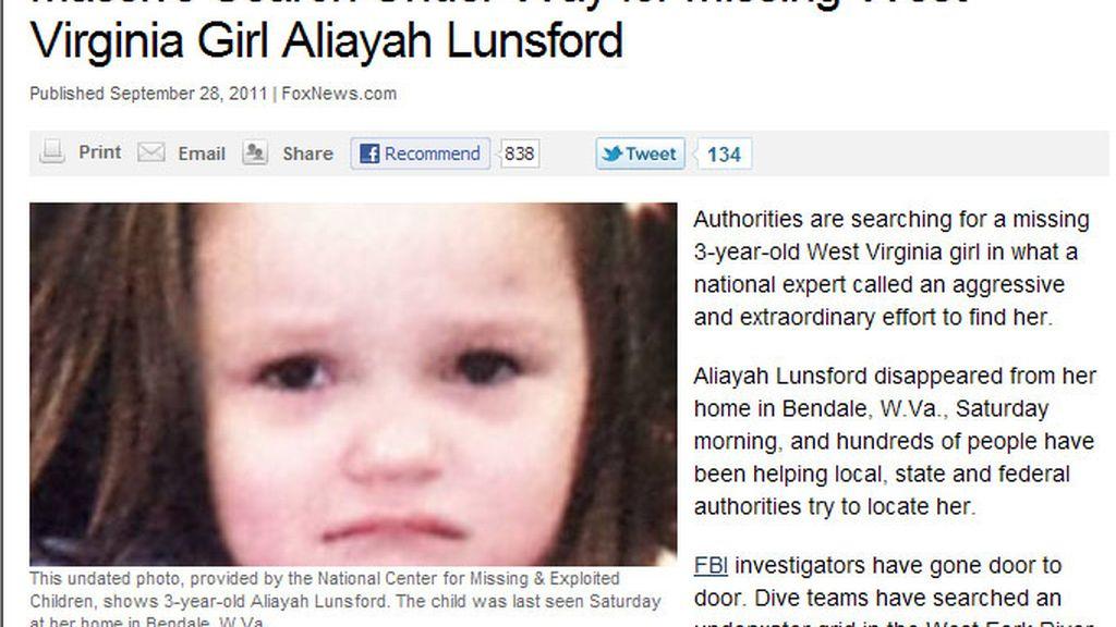 Aliayah Lunsford, de 3 años de edad, desapareció el pasado sábado de su casa de Bendale, en West Virginia