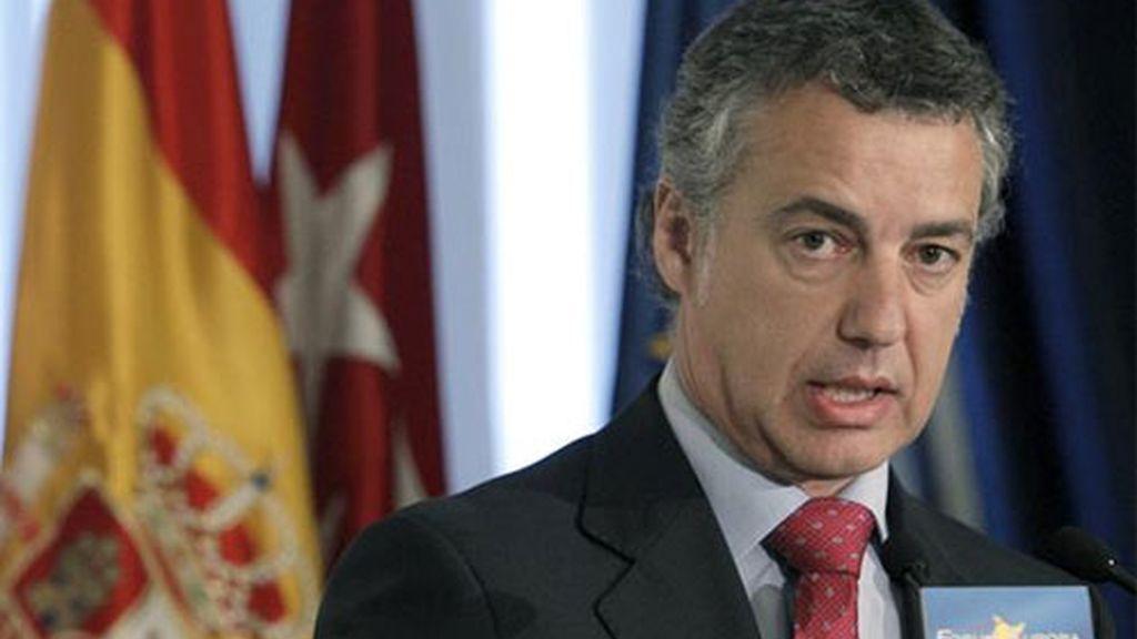 El presidente del PNV, Iñigo Urkullu, durante su intervención hoy en Madrid en un desayuno informativo de Nueva Economía Fórum.