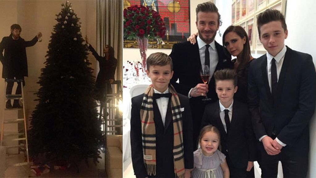 Los Beckham han tenido que tirar de escalera para decorar su árbol XXL