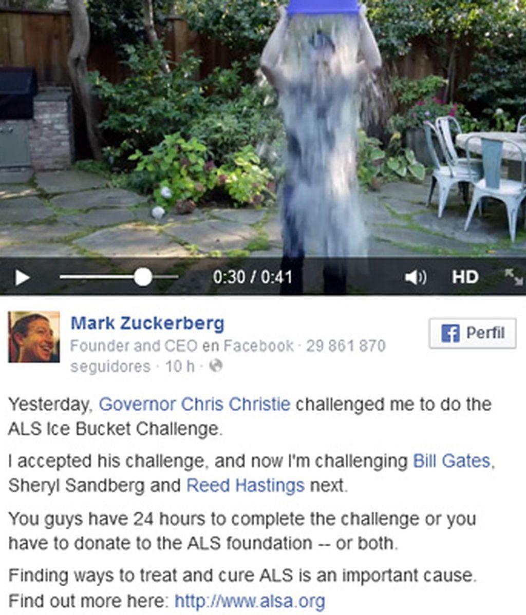 Mark Zuckeberg cumple con el 'reto del cubo de hielo' por los enfermos de ELA