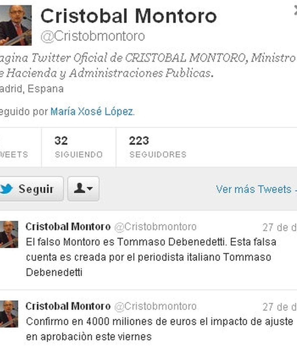 La falsa cuenta en Twitter de Cristóbal Montoro.