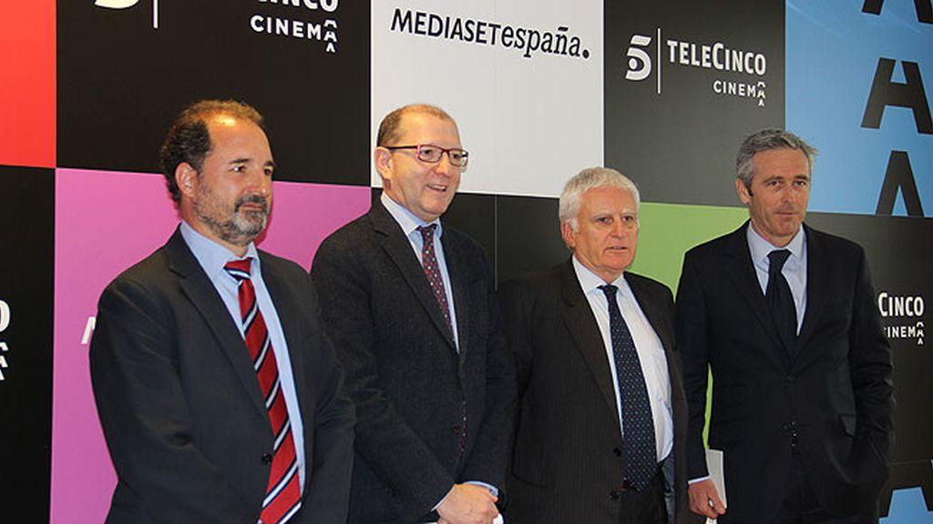 Álvaro Augustin, Manuel Villanueva, Paolo Vasile y Ghislain Barrois
