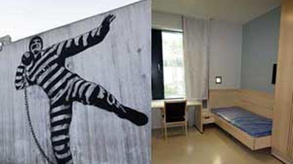 En la imagen, uno de los muros del patio de recreo y una de las habitaciones de la prisión. Foto: IBERPRESS