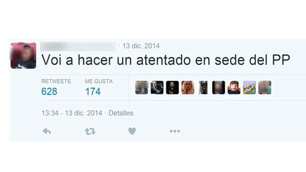 Insultos y amenazas en el perfil de Twitter del agresor de Rajoy