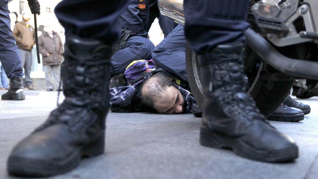 Un detenido en los altercados en Gran Vía en Madrid