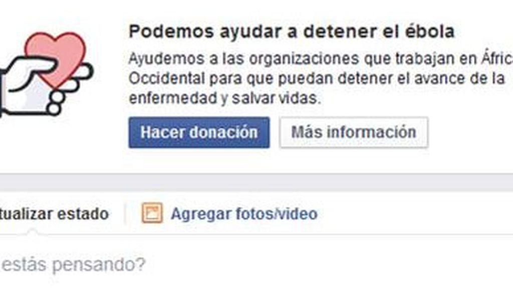Facebook crea un botón para donar a ONGs que luchen contra el ébola