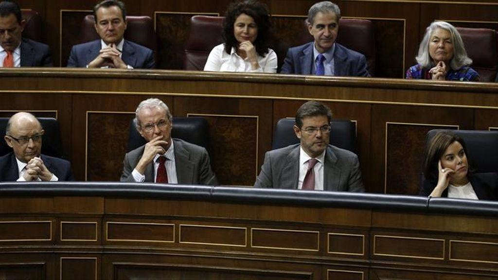 Los ministros del PP durante la sesión de control al Gobierno