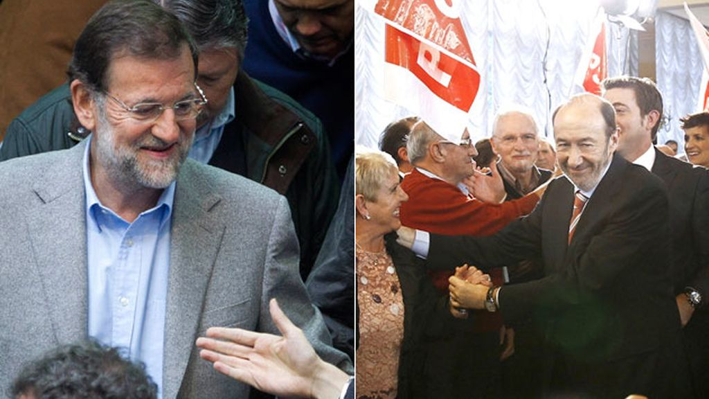 Alfredo Pérez Rubalcaba y Mariano Rajoy durante varios mítines