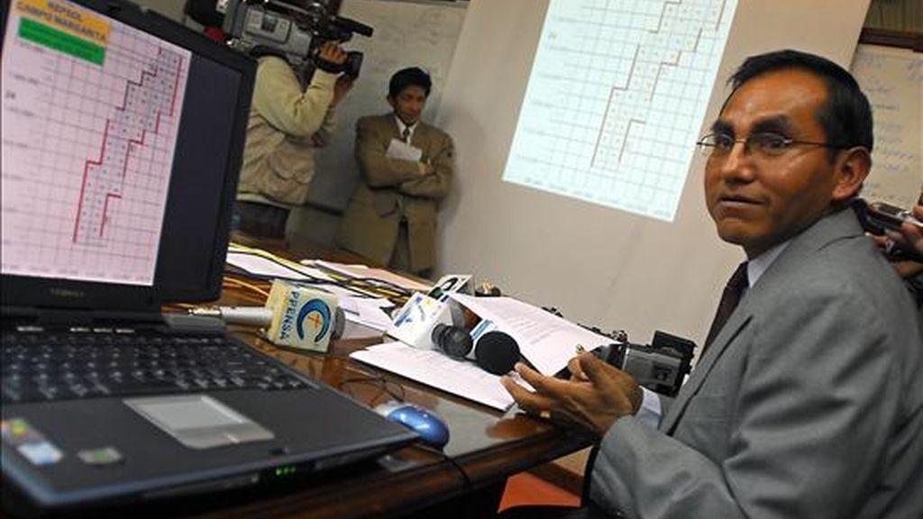 Fotografía de octubre de 2006 en la que se ve al  ex superintendente de Hidrocarburos de Bolivia Guillermo Aruquipa a quien una jueza le dictó una orden de arresto domiciliario por presunta corrupción en la estatal petrolera YPFB. EFE/Archivo