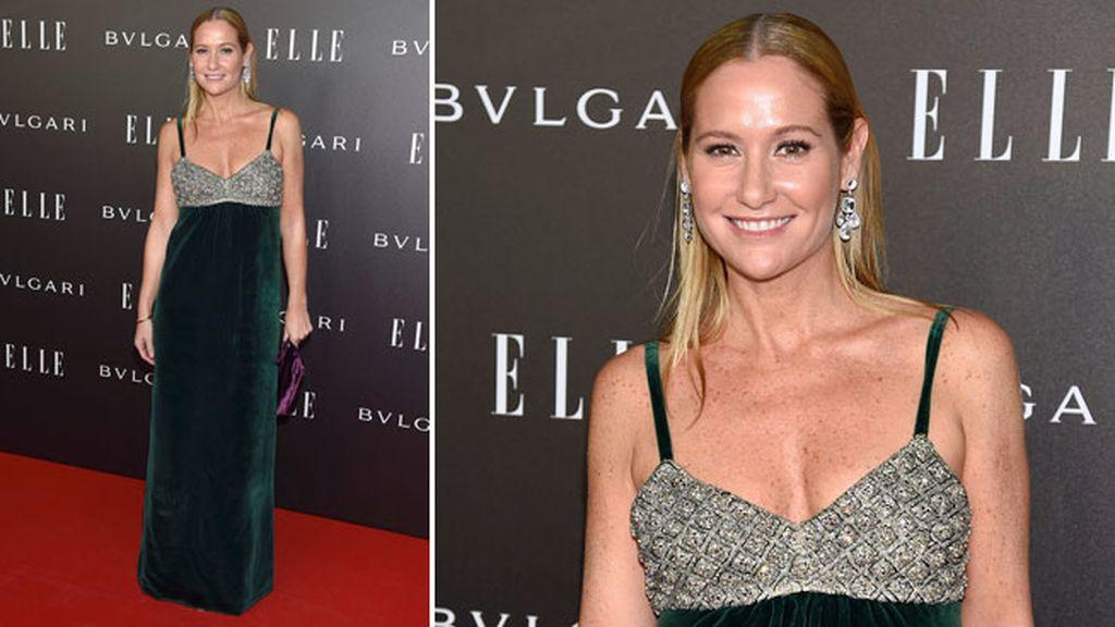 Fiona Ferrer lució un vestido de tirantes velvet