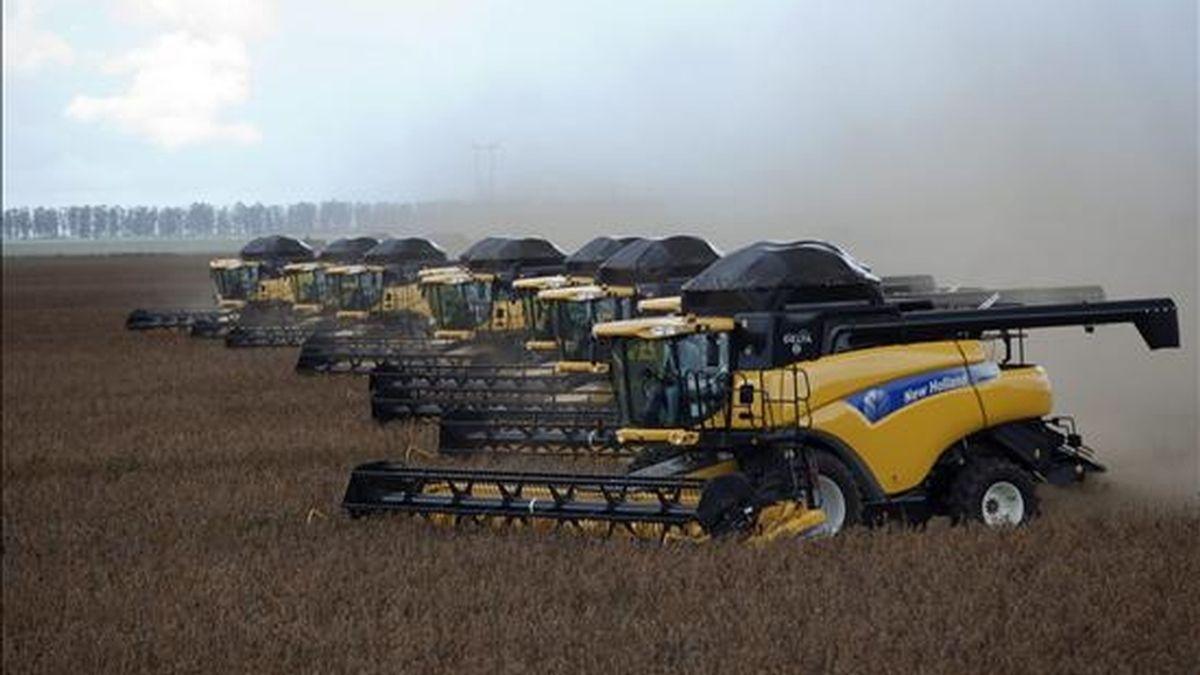 Fotografía de archivo del 31 de marzo de 2010 en la que se observa máquinas cosechadoras durante el inicio de la cosecha de soja en una hacienda del estado de Bahía (Brasil). EFE/Archivo