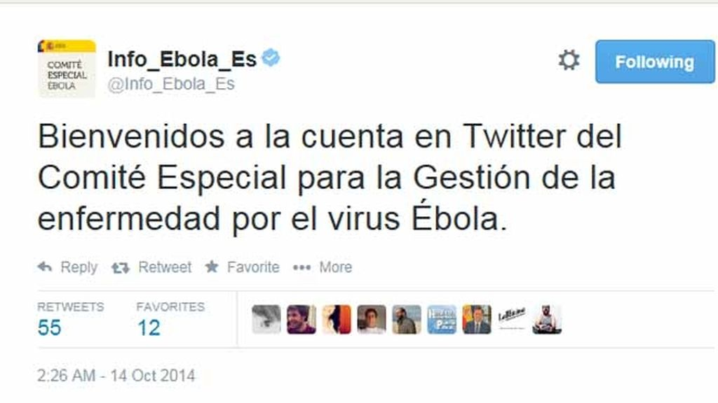 El Gobierno pone en marcha la cuenta de Twitter especial para informar sobre el ébola