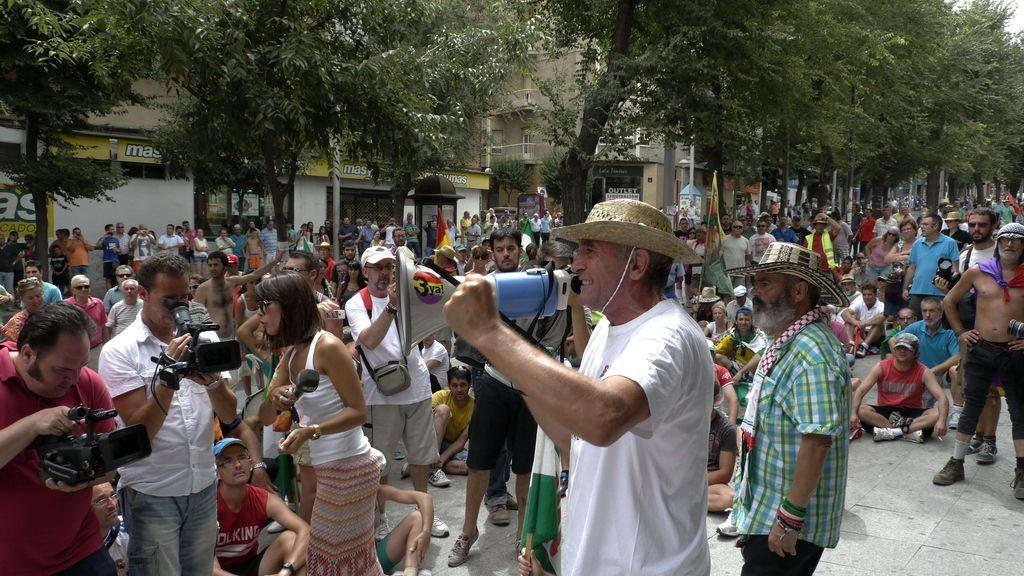José Manuel Sánchez Gordillo y Diego Cañamero, exalcalde de El Coronil, en la 'marcha obrera' de Jaén