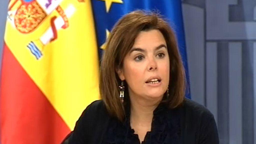 Soraya Sáenz de Santamaría en la rueda de prensa del Consejo de Ministros