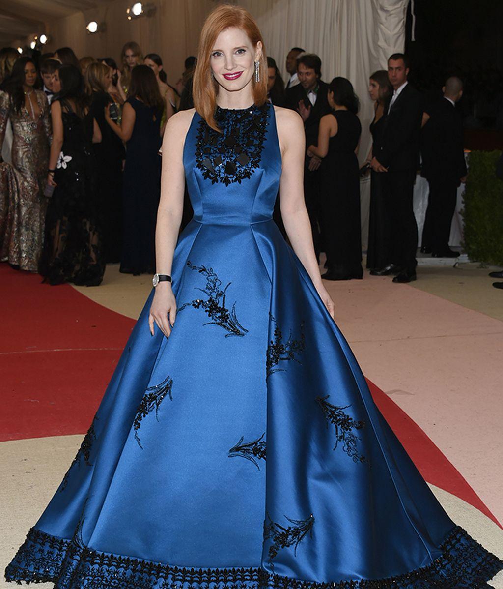 Jessica Chastain con vestido de Prada