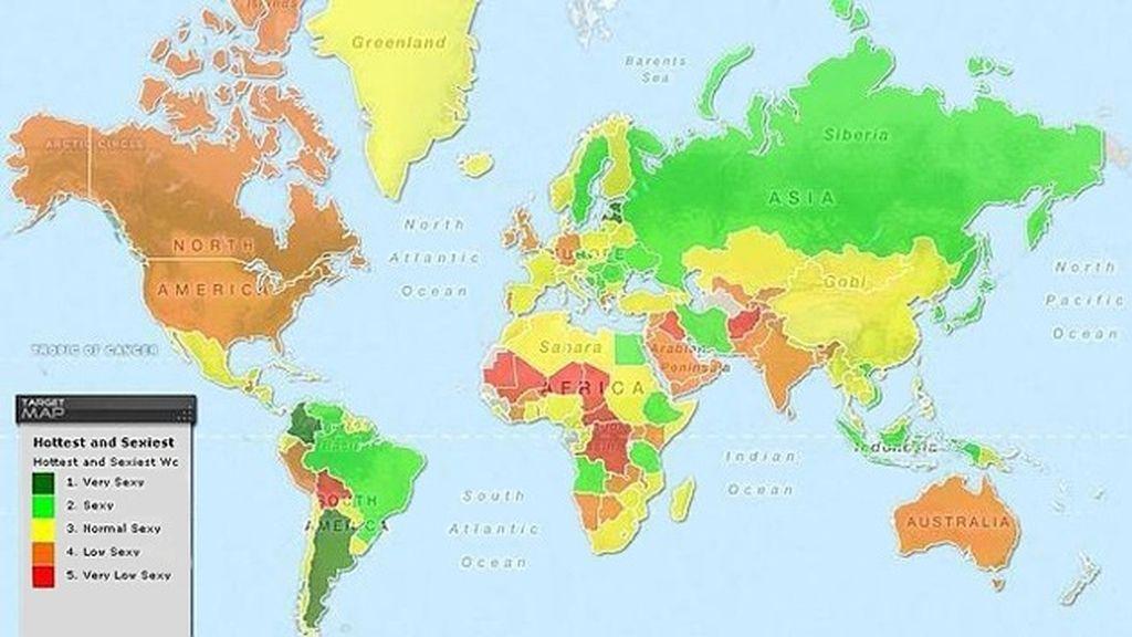 El mapa de las mujeres más atractivas del mundo