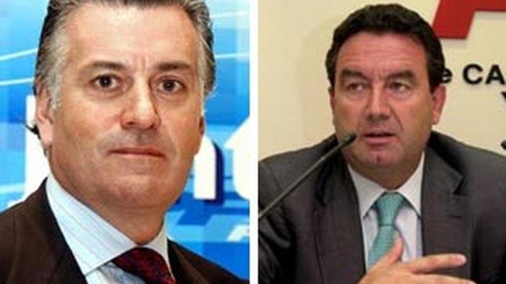Imágenes de archivo del senador y tesorero del PP, Luis Bárcenas, y del diputado nacional de esta formación, Jesús Merino. Fotos: EFE.