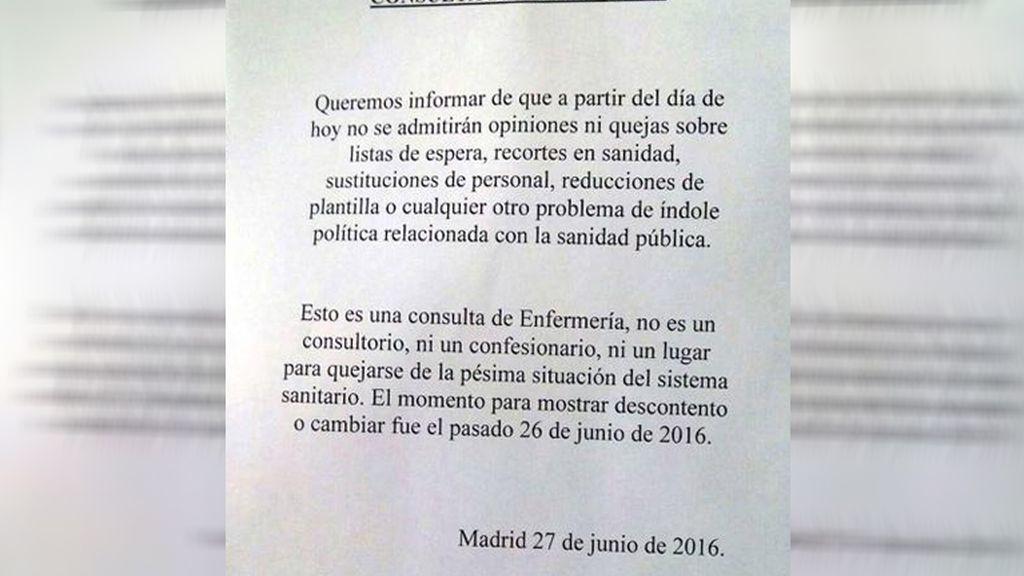 """La carta viral de una """"consulta de enfermería"""" cansada de la situación sociopolítica"""