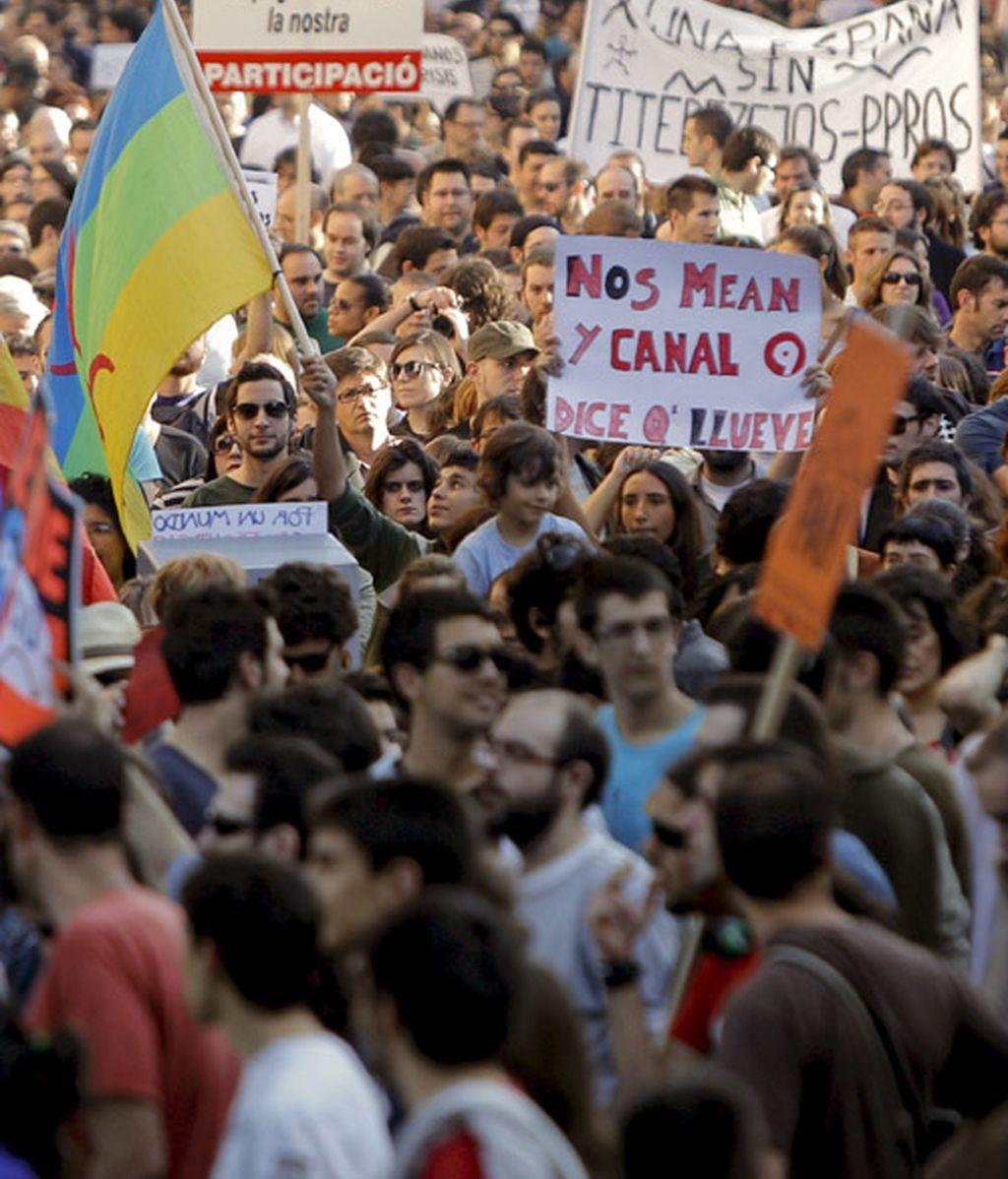 Manifestación del movimiento de los Indignados en Madrid el pasado 19 de junio.