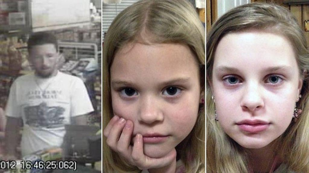 El secuestrador suicida y las dos niñas que raptó.