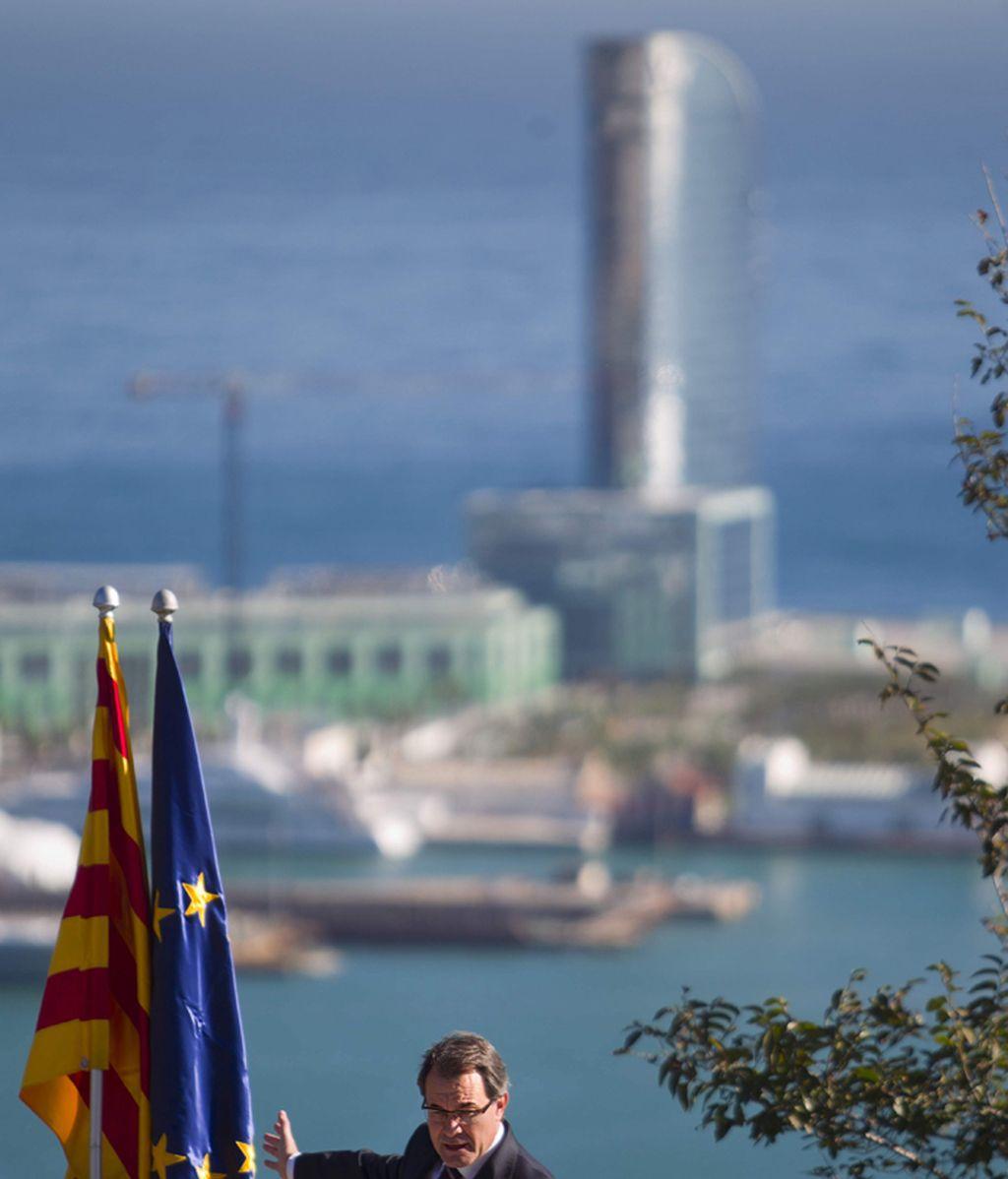 Artur Mas, en el mirador del alcalde en la montaña de Montjuïc