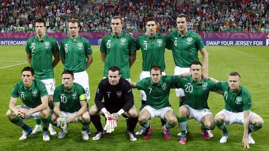 El once inicial irlandés en el España - Irlanda