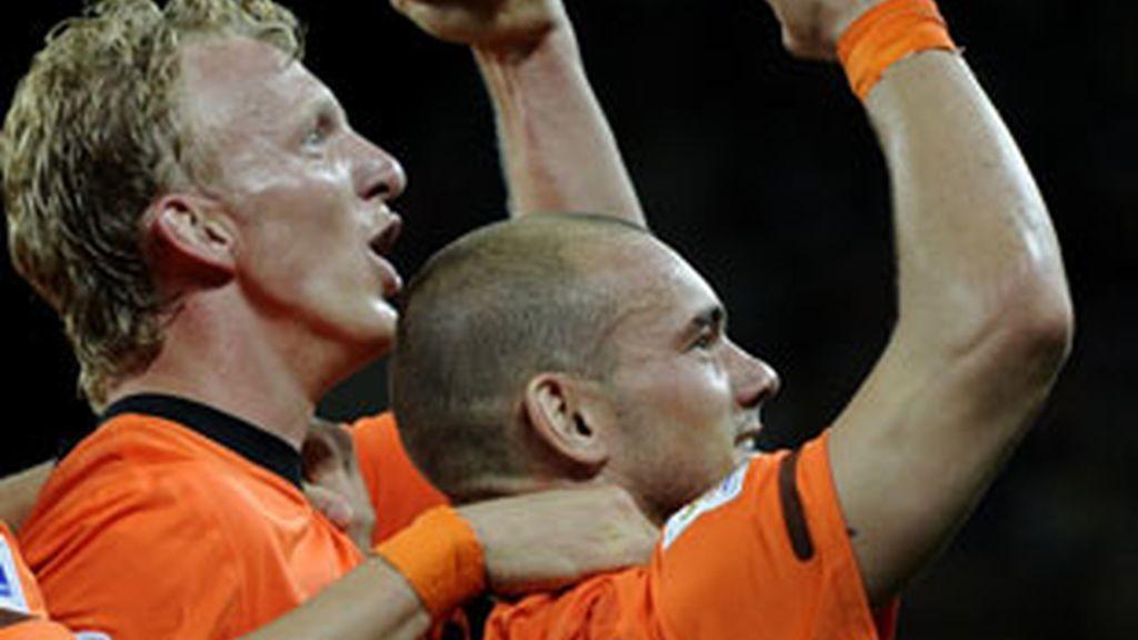 Sneijder celebra un tanto. Foto: G Tres