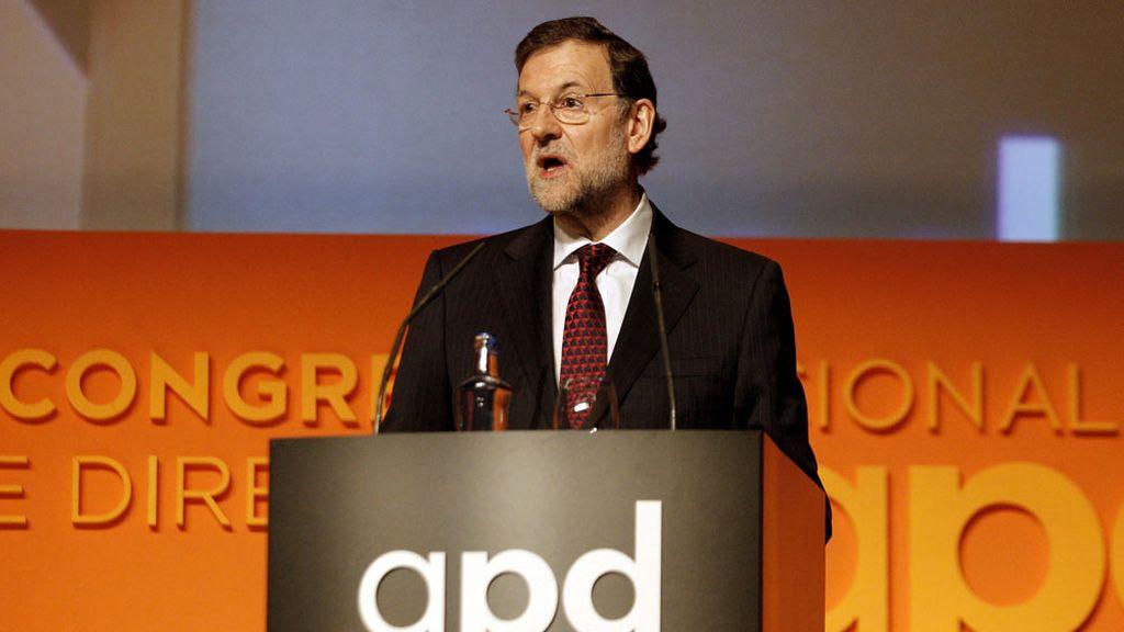 El presidente del Gobierno, Mariano Rajoy, durante su intervención en la inauguración del II Congreso Nacional de Directivos APD en Valencia