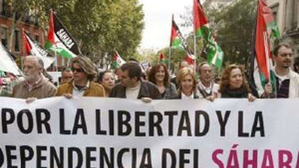 """""""Por la libertad y la independencia del pueblo saharaui"""". Foto: EFE"""