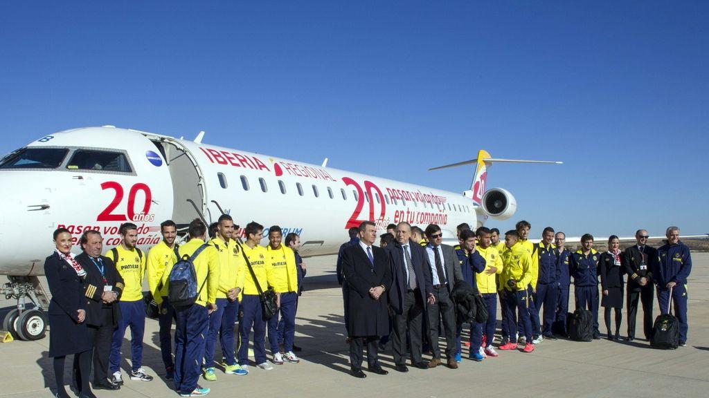 """El Villarreal se ha convertido en el primer pasajero """"oficial"""" del aeropuerto de Castellón"""