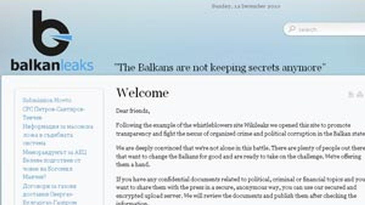 Página web del portal recientemente creado de Balkan Leaks