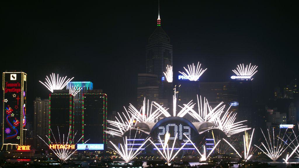 Espectáculo pirotécnico en Hong Kong, China