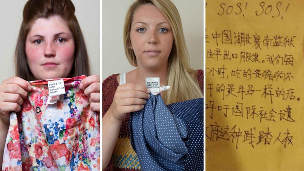 Etiquetas denunciando los abusos en las fábricas de Primark