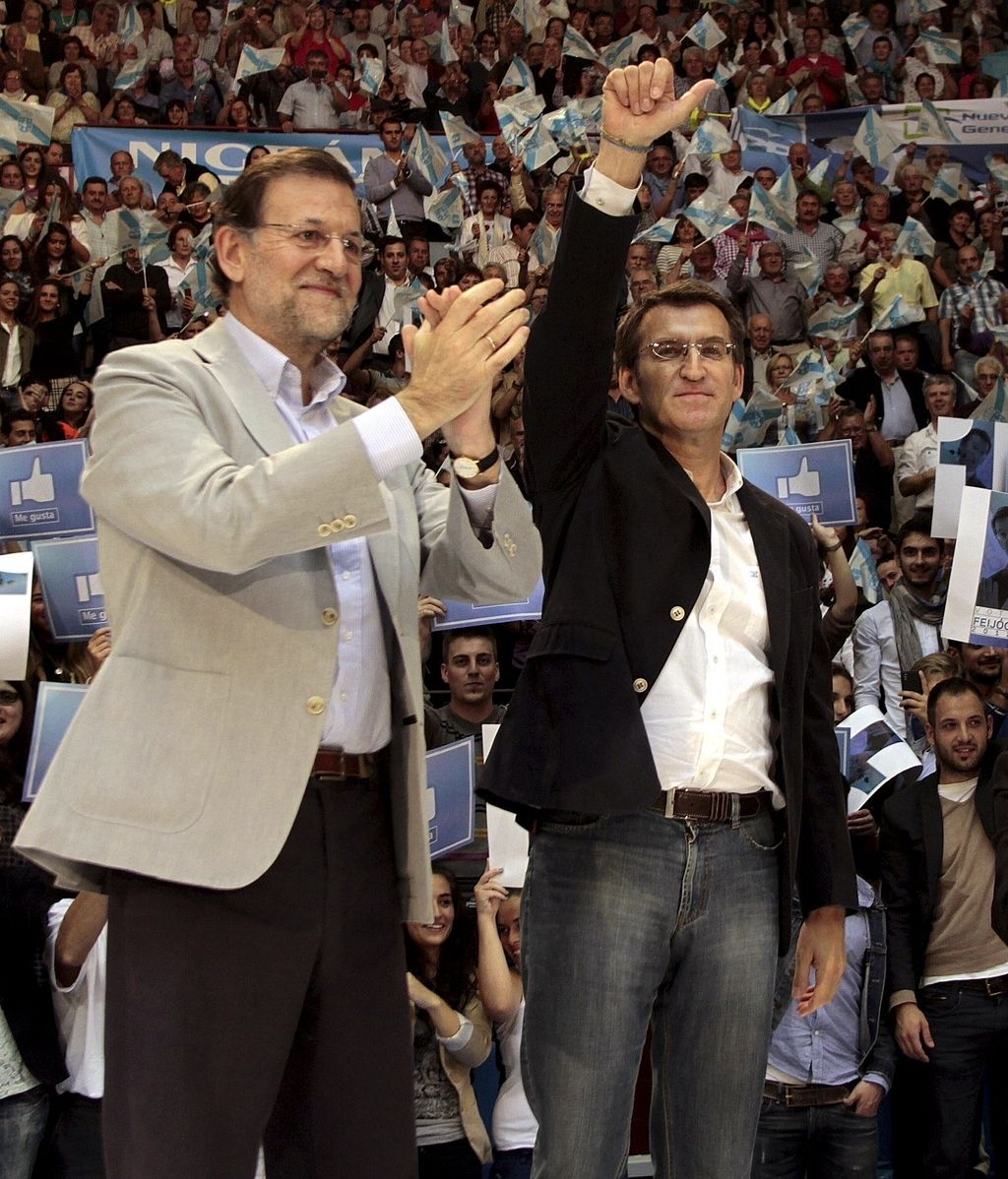Mariano Rajoy y Núñez Feijóo, de campaña en Galicia